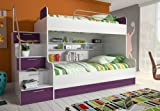 wohnenluxus Etagenbett Roterdam / 90x200 / Doppelhochbett mit viel Staumraum/Kinderhochbett / Stockbett Farbe Violet