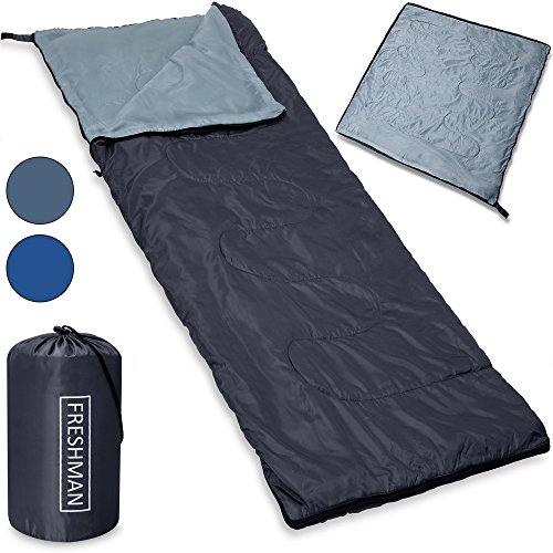 """Mountaineer Schlafsack Modell """"Freshman"""" Mumienschlafsack Modell """"Polaris"""" Deckenschlafsack - leicht 800g - mit kompakter Tragetasche - wasserabweisend & atmungsaktiv - Farbe dunkelblau - Farb- und Modellauswahl"""