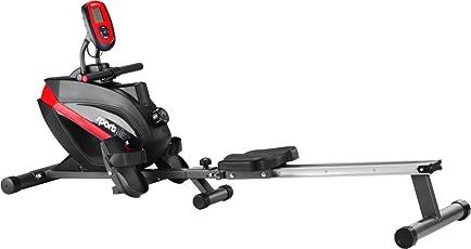 SportPlus Rudergerät für zuhause, leises & wartungsfreies Magnetbremssystem, ca. 8kg Schwungmasse, Trainingscomputer mit 5kHz Pulsempfänger, Nutzergewicht bis 150kg, Sicherheit geprüft