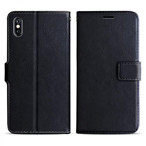 eFabrik Tasche für iPhone X Schutztasche Bookstyle Hülle, Farbe:Braun Schwarz