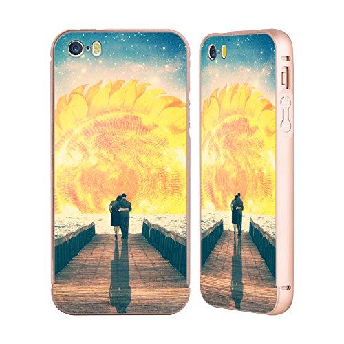 Ufficiale Paula Belle Flores La Mia Casa Da Sogno Spazio Surreale Oro Cover Contorno con Bumper in Alluminio per Apple iPhone 5 / 5s / SE Una Bella Alba