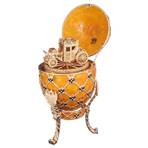 Dekorativer Russische Fabergé-Stil Ei / Schmuckkästchen mit russischem Wappen & Kutsche 18 cm gelb
