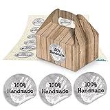 24 kleine Mini-Geschenkkarton Faltschachtel braun natur 9 x 12 x 6 cm ohne Griff + runde Aufkleber 100% Handmade grau Ø 4 cm für Mitgebsel und als Geschenkverpackung von selbst Gemachtem