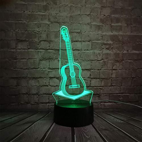 3D Acryl Musik Gitarre 7 Farbe LED Raumdekoration Nachtlicht Kinder Geschenk Touch und Fernbedienung Schalter USB