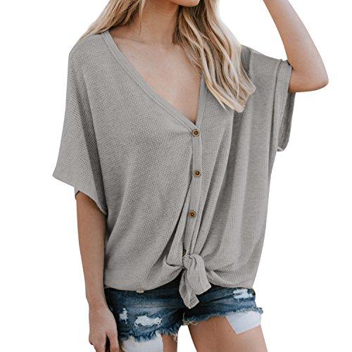 Lisli Damen Pullover Kurzarm Lässig V-Ausschnitt Button Through Tie up Baggy Oversized Einfarbig Swearshirt T-Shirt Stricken Kurzarmshirt Ausschnitt Button