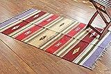Rugolution Mehrfarben Gestreifter Teppich. Flach Gewebter beidseitig verwendbarer Teppich aus 100% purer Bio-Baumwolle & natürlichen Färbemitteln. Größe: 90x150, Code #0702