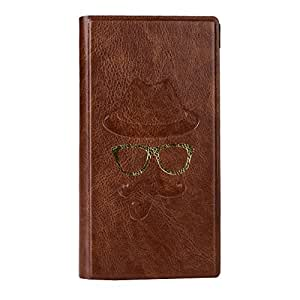 J Cover Moustche Series Cover Leather Pouch Flip Case For Samsung Galaxy On7 Pro Brown
