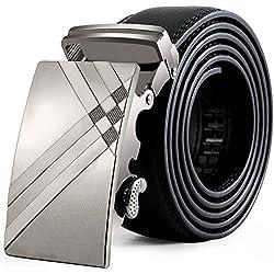 zolimx Cinturones de hombre, cuero automático correa hebilla cinturones (Talla única, F)
