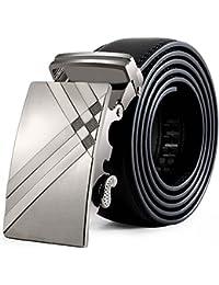zolimx Cinturón Para Hombres, Cuero Genuino Automático Correa Hebilla Cinturones Para Traje Para Jeans, Ropa Casual, Ropa de Trabajo, Ropa Formal