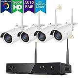 [Color Night Vision] xmartO WOS1384-NC, kabellos 8 Kanal Videoüberwachung Kamerasystem, mit 4 x 960p IP Kameras (farbig Nachtsicht, Dream Liner, App View) weiß