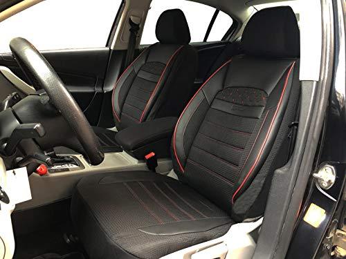 seatcovers by k-maniac Protezioni coprisedili Auto V2412171 Nero-Rosso sedili Anteriori in Similpelle Applicazioni Automotive Accessori per Auto
