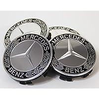 IPRIME - Set da 4 ricambi per coprimozzo decorativo Mercedes Benz con stella e corona d'alloro, colore: Nero, per: Classe E, Classe C, CL, CLS, SLK, ML, GLK, classe A, classe B, W204, W212, W210, W221, W220, C209, W207, W246, Diametro: 75mm