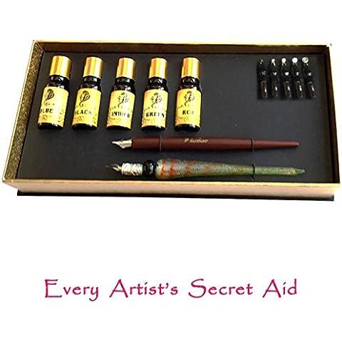 Daveliou Kit de caligrafía 12 piezas - 5 tintas, 5 puntas de plumas, 2 plumas de madera
