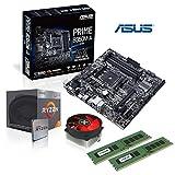 Memory PC Aufrüst-Kit AMD Ryzen 3 2200G AM4 QuadCore Summit Ridge 4x 3.6 GHz, 16 GB DDR4 2400 MHz von Crucial, ASUS Prime B350M-A, USB 3.1, SATA3, 7.1 Sound, M.2 Sockel, GigabitLan, MultimediaKIT, komplett fertig montiert und getestet