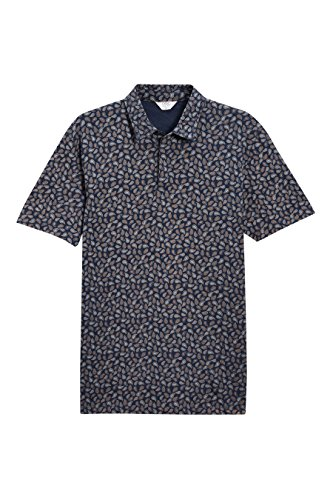 next Herren Poloshirt Paisley-Muster Normale Passform Kurzarm T Shirt Polo Top Marineblau