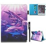 BtDuck iPad Air 2 Hülle Blau Magnet Magnetisch Cover iPad Air 2/iPad 6 Hülle Leder Tier SlCase StänderEingebaut ID für KreditTasche Brieftasche Geschenk Kinder Weihnachtsgeschenke - Delphin