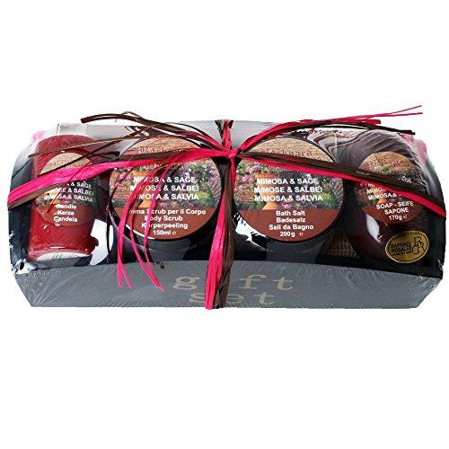 Raphael Rosalee Cosmetics Wellness Beauty Geschenk Set Seife Peeling Badesalz Räucherstäbchen Wellnesstuch