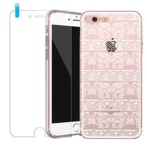 iPhone SE Hülle mit Panzerglas, Bestsky iPhone 5/5s Hülle Transparent Silikon Weiß Henna Mandala Muster Cover Case Durchsichtig Handy Tasche Schutzhülle für Apple iPhone SE/5/5s (4.0 Zoll) #02