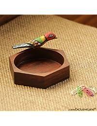 ExclusiveLane Hexagonal Multi-utility Knick Knack Bird Organizer Tray In Sheesham Wood - Jewelry Rack Tray Dressing...