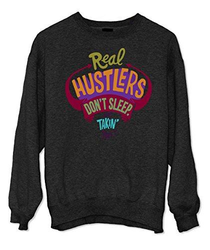 Real Hustlers Don't Sleep We Takin' Naps Komisch Sweatshirt Schwarz Medium