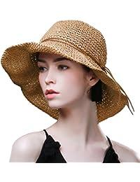 Ladies Summer Sun Hats Women Panama Straw Beach Hats Foldable Wide Brim  Floppy Fedora - UPF b843bac3010c