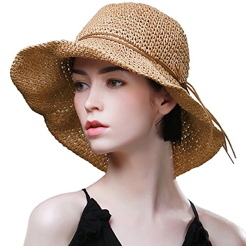 SIGGI Stroh Sommerhut mit Sonnen Shade für Damen schlaffer Strand Sonnenhut Breite Krempe, 89320_Kambel, M