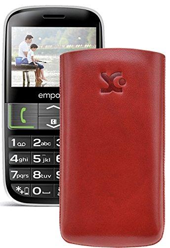 Original Suncase Tasche für / Emporia EUPHORIA V50 / Leder Etui Handytasche Ledertasche Schutzhülle Case Hülle - Lasche mit Rückzugfunktion* In Rot