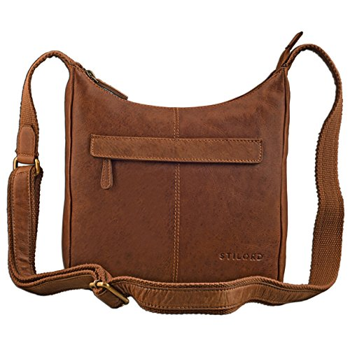STILORD kleine Lederhandtasche Umhängetasche Vintage Handtasche mit verstellbarem Schulterriemen aus weichem Antik Leder Damen, Farbe:Cognac - braun -