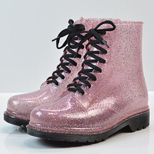 LvRao Frauen Hohe Knöchel Wasserdichte Schnee Regen Schuhe Kurze Stiefel Damen Garten Boots Gummistiefel Schnürstiefel Rosa