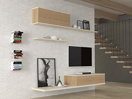 Ve.ca-italy parete attrezzata soggiorno roxy, living, arredo casa, in diverse colorazioni (bianco larice - rovere rock)