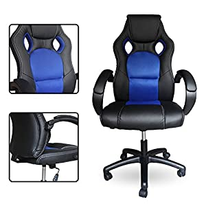 51TptZ8cjNL. SS300  - HG-Racing-Chair-Silla-de-oficina-Comfort-Chair-Silla-Silla-giratoria-PU-blue-Capacidad-de-carga-120-kg