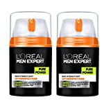 L'Oréal Men Expert, Pure Power, Crema idratante anti imperfezioni, da uomo, 50 ml, 2 pz.