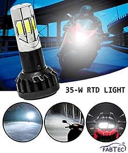 FABTEC Universal Bike RTD LED Headlight Bulb with High Beam & Low Beam Waterproof Ultra Bright White Light for All Bikes (12V - 35W)