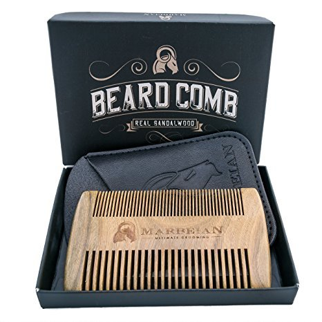 Beard-Comb-Fine-Coarse-tooth-in-a-Synthetic-Leather-Case-With-a-Gift-Box-Luxurious-Sandalwood