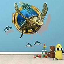 Pegatinas de pared 3D tortugas Peces mariposas Papeles Vinilos de pared extraíble Sala de vinilo Sala de estar Dormitorio Arte de PVC Imágenes Murales para niños Guardería Bebé Niñas Niños