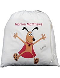Personalised - Cute Dog in Cape - Large Cotton Drawstring Storage Bag