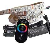 3 Meter RGB LED Streifen Set (60 LED/m, IP65) inkl. Controller, Funkfernbedienung und 6 A Netzteil
