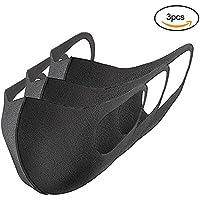 masques noir anti-poussière, anti-pollen unisexes d'éponge respirant-lot de 3 masques