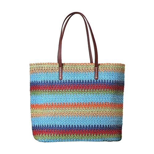 Blau Stroh Handtaschen (Fansi Mode Bunte Streifen Umhängetasche Stroh Handtasche Strandtasche Casual Damen Tasche (1 Stück) (blau))