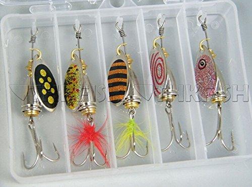 5 Stück 02T-2 8g Forellen Spinner Blinker Sortiment mit Box Angel