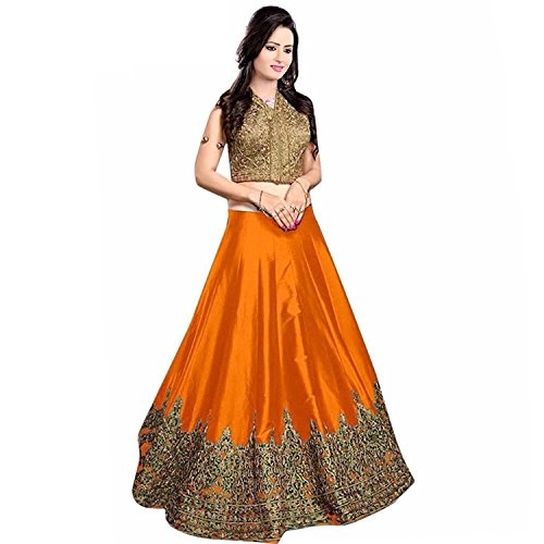 Vastra Fashion Women's Banglory silk Semi-Stiched Lehenga Choli(minaxi red_003_Red_Free Size)