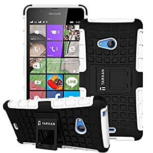 TARKAN Hard Armor Hybrid Rubber Bumper Flip Stand Rugged Back Case Cover For Microsoft Lumia 540 - White