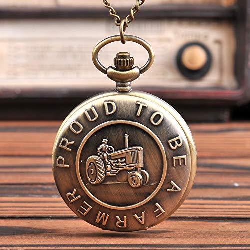 HWCOO Taschenuhren Traktor-Taschenuhr im klassischen Design, die englische Quarz-Taschenuhr umgibt Große Quarz-Taschenuhr 9006 Uhren (Color : 1)