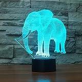 Optische Täuschung 3D Elefant Nacht Licht 7 Farben Andern Sich USB Adapter Touch Schalter Dekor Lampe LED Lampe Tisch Kinder Brithday weihnachten Geschenk
