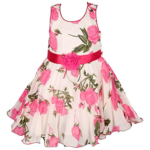 Wish Karo Girls Party Wear Frock Dress (fr85PS-4-5 Years_Pink_4-5 Years)