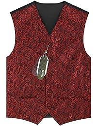 Zicac Herren Lapel Hochzeitsweste Weste Kellnerweste Anzug Sakko Printing Design Drei Button Slim Fit Party Dress Weste