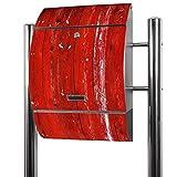 BANJADO Edelstahl Briefkasten groß, Standbriefkasten freistehend 126x53x17cm, Design Briefkasten mit Zeitungsfach Motiv Rote Holzlatten