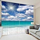 TINE HOME CURTAINS Vorhang Tuch Polyester-3D Landschaft Digital Foto-Noise reduziert isoliert verdunkelnd für Schlafzimmer Wohnzimmer Fenster dekorativ (1Set 2Stück), wide 2.64x high 1.6