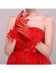 DELLT- Sexy Lace Lace Bride Rouge Gants Gants de mariage Short Dress Accessoires