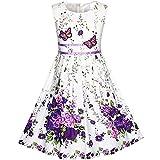 Sunboree Mädchen Kleid Lila Schmetterling Blume Gr. 98-104